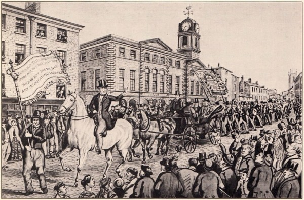 The first Temperance Procession in the world passes through the streets of Preston with Thomas Swindlehurst clearly depicted on a horse at the front.