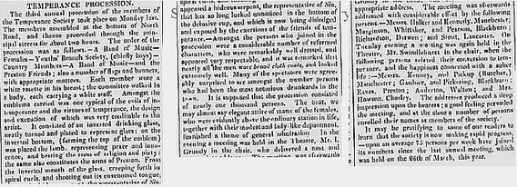 Article on the 3rd Temperance Procession through Preston from the Preston Chronicle, 13 June 1835