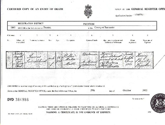 Death Certificate of Thomas Swindlehurst 1861