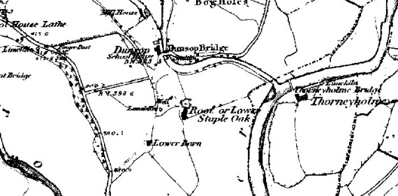 1850 OS Map showing the Dunsop Bridge / Root area