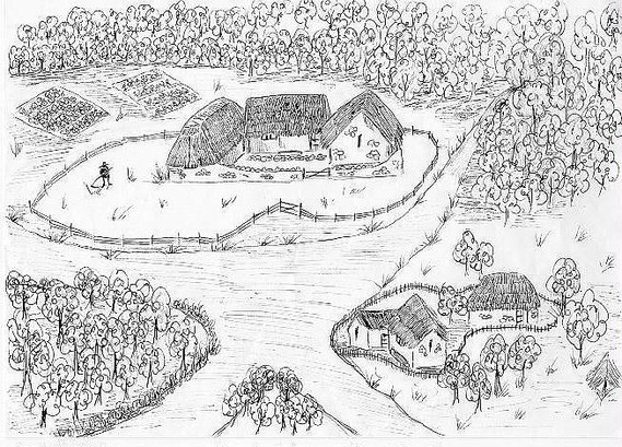 "Artist impression of Cylla's farmstead - the ""Schot-tun"" (Picture by L.R. Parry)"