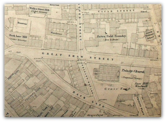 A map from 1849 clearly identifies the foundry.