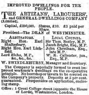 Advertisement in The Examiner 11 May 1872