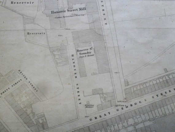 "A Foundry on Hanover Street on the 1849 OS 60"" map. This may have been the building occupied by Ireland & Swinglehurst in the 1820's"
