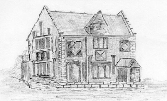 Sketch of Shotton Hall (drawing by L. R. Parry)
