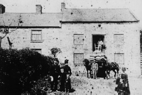 The Blease Family outside  Wepre Mill in about 1890
