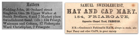 Listing and Advertisement in a Preston Trade Directory for 1865, the year that Samuel established his hat selling business. The listing confirms that he is a hat seller rather than a hat maker.