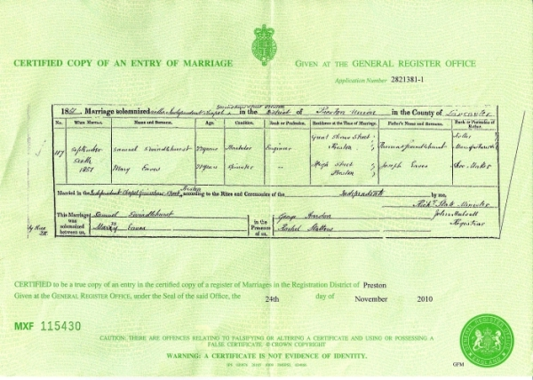 Samuel Swindlehurst & Mary Eave's Marriage Certificate - 6th September 1851