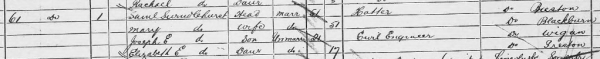 1881 Census Extract from Barrow in Furness